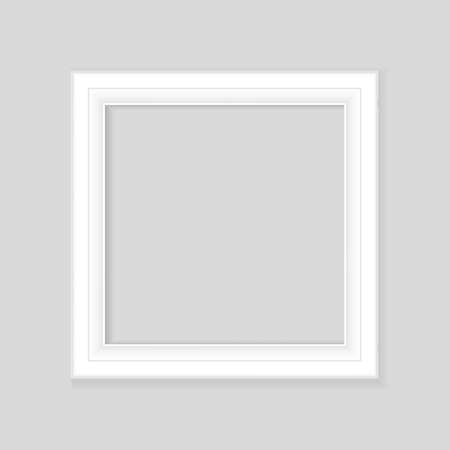 Realistic White frame isolated on gray background. Perfect for your presentations. Vector illustration.
