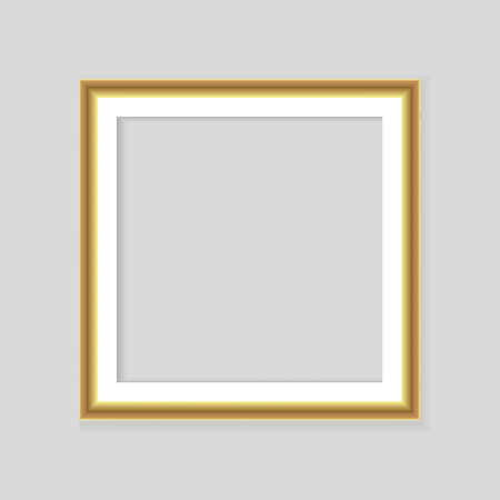 Realistic gold frame isolated on gray background. Perfect for your presentations. Vector