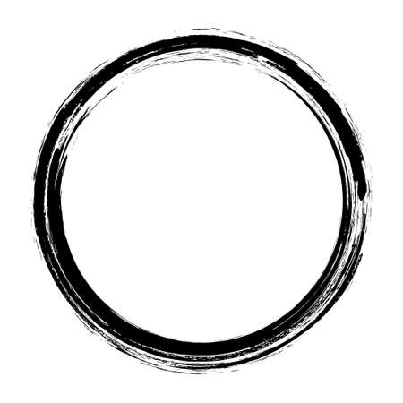 Grunge hand drawn black paintbrush circle. Curved brush stroke vector illustration