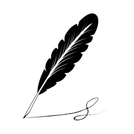 feather A vector illustration of an old quill and ink. Feather Quill and ink. A retro image of a writing with quill icon.