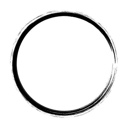 Grunge hand drawn black paintbrush circle. Curved brush stroke vector illustration