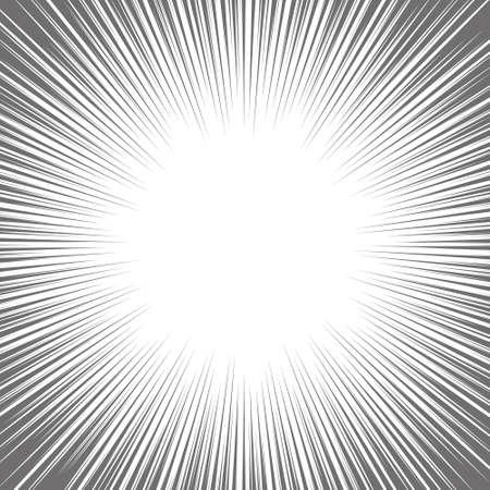 Vector black radial speed line burst for background design or cartoon template. Comic Book Design Element. Black and white vector illustration.