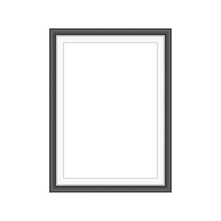 Realistic black frame isolated on white background. Perfect for your presentations. Vector illustration. Иллюстрация