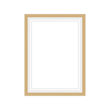 Realistic gold frame isolated on grey background. Perfect for your presentations. Vector illustration.