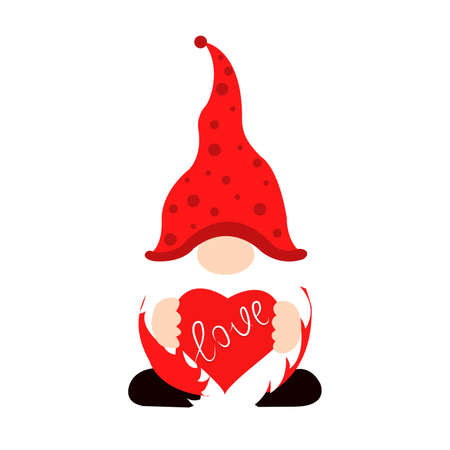 Cute Valentine gnome with heart-shaped balloon Vector illustration for St. Valentine s Day. Valentine gnome, great design for any purposes.