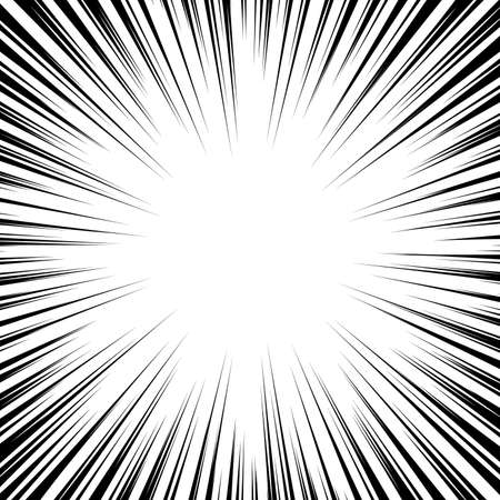 Vector black radial speed line burst for background design or cartoon template. Comic Book Design Element. Black and white vector illustration.