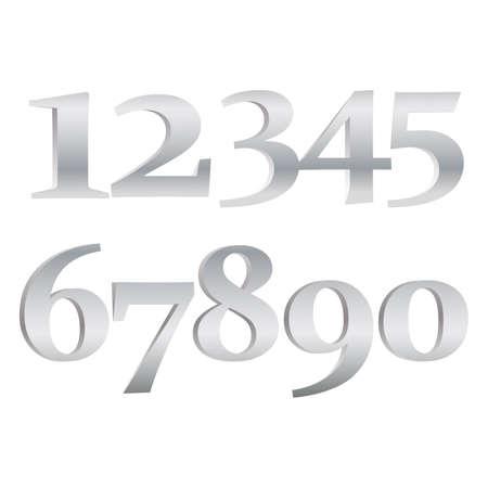 numbers set.Vector golden number. Beautiful metal design for decoration. Symbol elegance royal graphic, fashion signs. Illustration