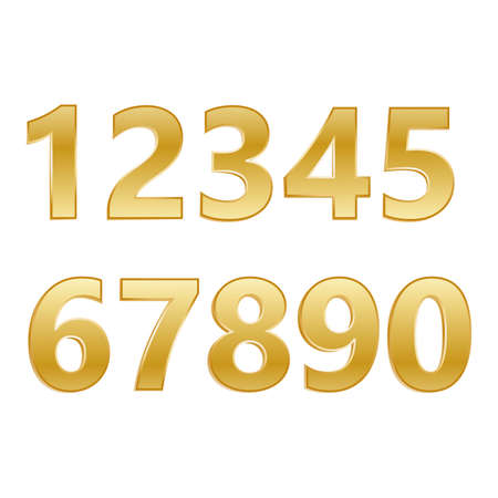 numbers set.Vector golden number. Beautiful metal design for decoration. Symbol elegance royal graphic, fashion signs. Иллюстрация