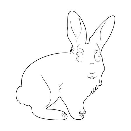 Black silhouette of little bunny. Rabbit silhouette in vector. Easter bunny. Can be used as a stencil or template for festive decorations, postcards.