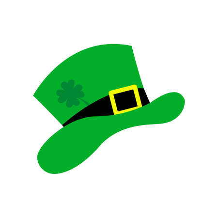 St. Patricks Day hat with clover.  illustration. St. Patricks Day decoration. Clover leaf and green hat Stock Photo