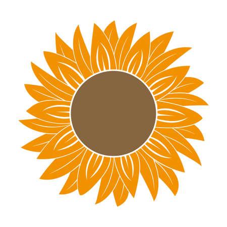 Beautiful orange flower bud, blooming wildflower. vector illustration.