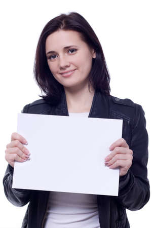 Beautiful brunet woman with blank card isolated over white photo