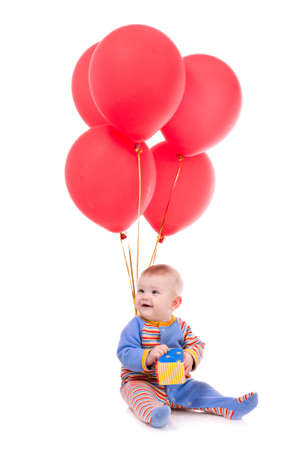 Little baby boy with balloons isolated on white background Stock Photo - 13322419