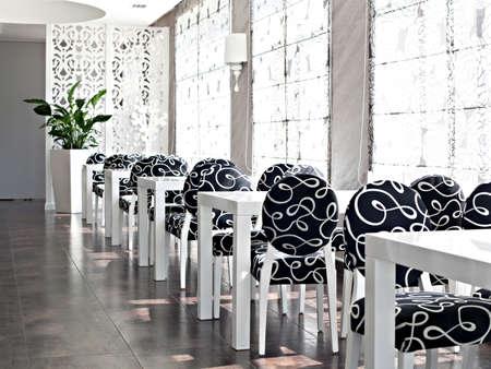 Cafe Interior in black-white color photo