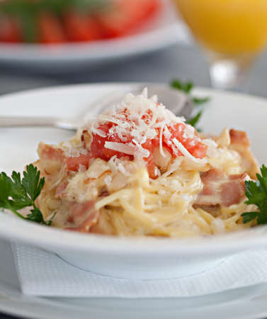 Italian pasta dish - Spaghetti alla carbonara Stock Photo - 13626288