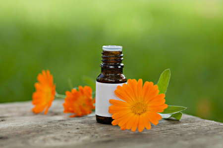 Bottles of essential oil and calendula flowers outdoor