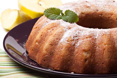 shortcake: Tasty apple pie on plate