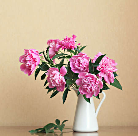 Bouquet of peonies blooms in vase  photo