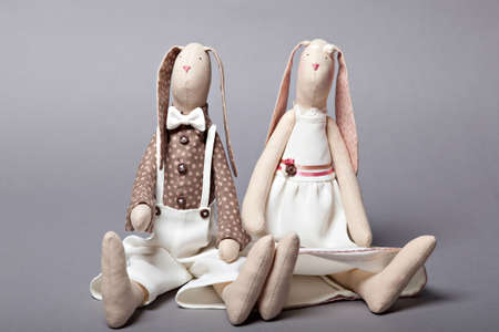 Wedding rabbits on grey background Reklamní fotografie