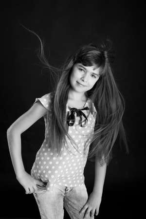 Black-white portrait of beautiful girl with long hair Stock Photo - 14996585