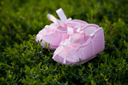 Pair of pink balerina shoe close-up outdoor Stock Photo - 15309929