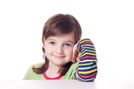 Smile little girl isolated over white background Stock Photo
