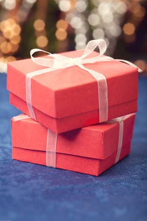 blue gift box: Gift boxes bokeh background Stock Photo