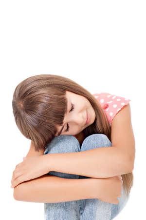 Sad girl isolated over white Stock Photo - 16883659