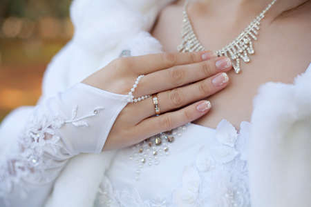 Brides hand with wedding ring