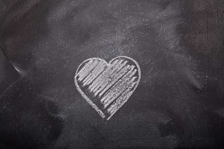 Handdrawn heart shape on blackboard photo