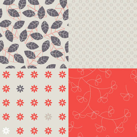 Set of simple floral seamless Vector