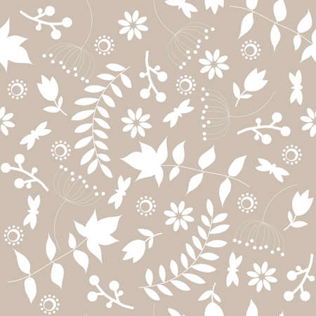 Retro seamless pattern with floral  silhouette Vector