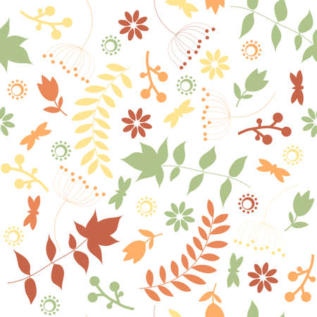 Retro seamless pattern with floral  silhouette Stock Vector - 17234375