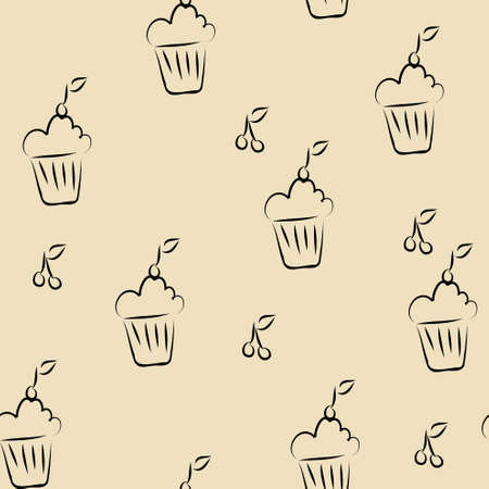 Simple seamless pattern with cupcakes Vector