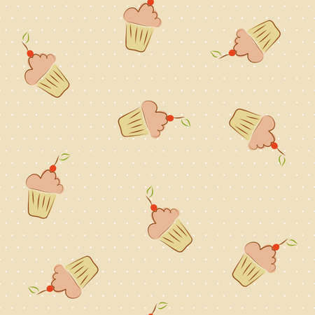 Cupcakes with cherry seamless pattern Vector