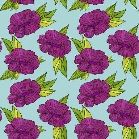 flores fucsia: Patrón sin fisuras con flores fucsias de dibujo