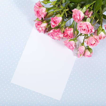 Blank cardboard with fresh pink roses bouquet photo