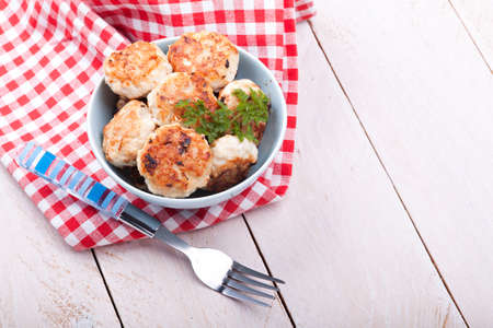 Meatballs in blue bowls on table Stock Photo - 19060729