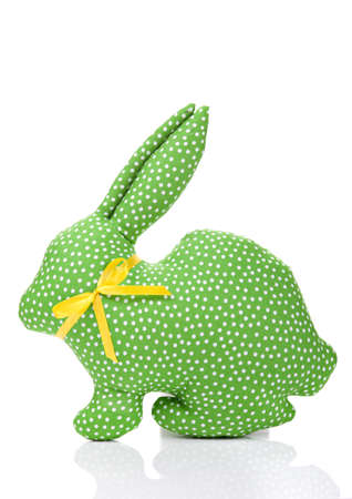 Green textile rabbit isolated over white Reklamní fotografie