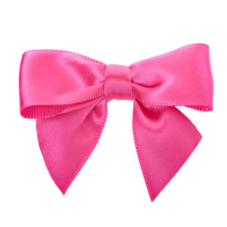 pink bow: Closeup pink bow isolated over white Stock Photo