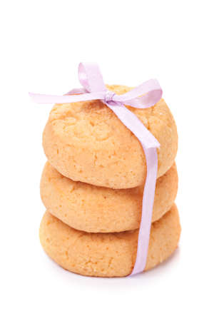 Cheese cookies isolated over white background photo