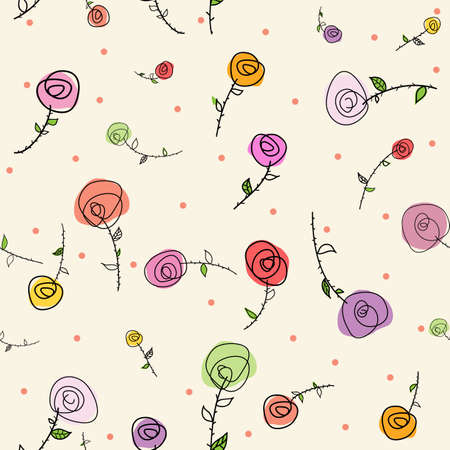 Easter roses seamless pattern Vector
