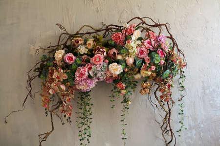 flower arrangement: Flower Arrangement on wall