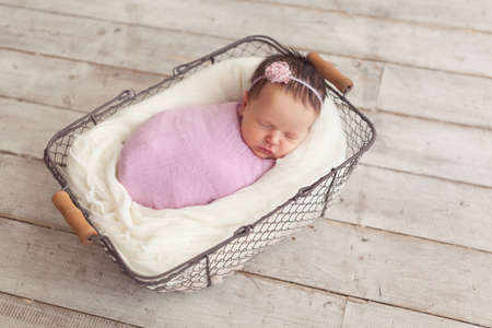 newborn baby girl posing in basket stock photo picture and royalty