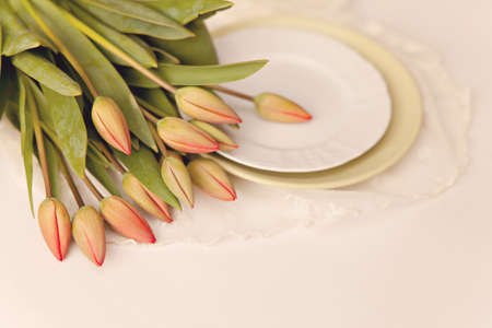 lowers: Fresh tulips on white background Stock Photo