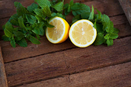 Fresh lemon with mint leaves 写真素材