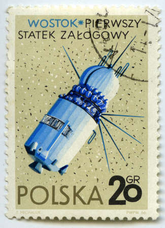 manned: POLAND - CIRCA 1966  Postage stamps printed in Poland shows Soviet first manned spacecraft  Stock Photo