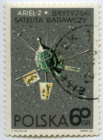POLAND - CIRCA 1966  Postage stamps printed in Poland shows British satellite  photo
