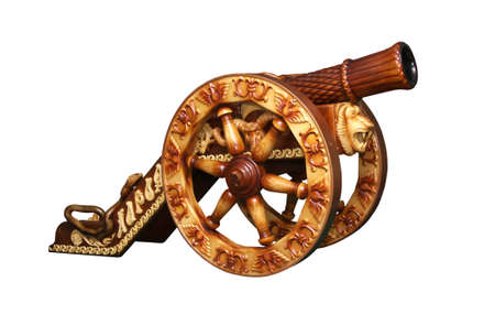 woodcarving: Decorative gun on a white background, woodcarving Stock Photo