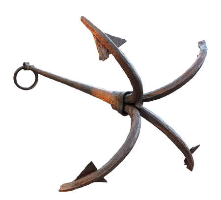 Old ships anchor on a white background photo